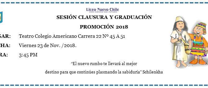 CEREMONÍA DE PROCLAMACIÓN Y CLAUSURA 2018